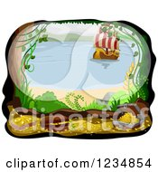 Clipart Of A Beachfront Cave With Treasure And An Approaching Pirate Ship Royalty Free Vector Illustration