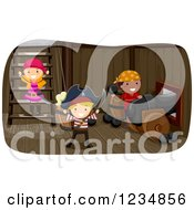 Clipart Of Pirate Kids Under A Ship Deck Royalty Free Vector Illustration