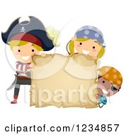 Clipart Of Pirate Kids With A Blank Treasure Map Or Parchment Sign Royalty Free Vector Illustration by BNP Design Studio