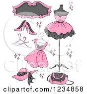 Clipart Of Pink Boutique Clothing And Accessories Royalty Free Vector Illustration