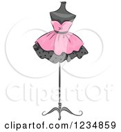 Clipart Of A Pink Boutique Dress On A Mannequin Royalty Free Vector Illustration