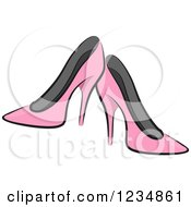 Clipart Of Pink Boutique High Heels Royalty Free Vector Illustration