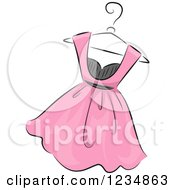 Clipart Of A Pink Boutique Dress On A Hanger Royalty Free Vector Illustration by BNP Design Studio