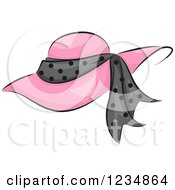 Clipart Of A Pink Boutique Hat With A Polka Dot Band Royalty Free Vector Illustration by BNP Design Studio