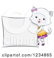 Clipart Of A Cute Female Cat Standing By A Sign Royalty Free Vector Illustration