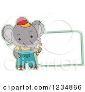 Clipart Of A Cute Elephant Student Standing By A Sign Royalty Free Vector Illustration