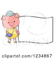 Clipart Of A Cute Female Pig Standing By A Sign Royalty Free Vector Illustration