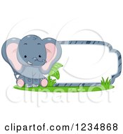 Clipart Of A Cute Elephant Sitting By A Label Or Sign Royalty Free Vector Illustration