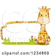 Clipart Of A Cute Giraffe By A Label Or Sign Royalty Free Vector Illustration by BNP Design Studio