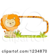 Cute Male Lion Sitting By A Label Or Sign