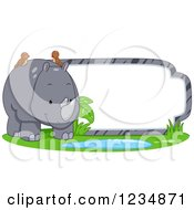 Clipart Of A Cute Rhinoceros Standing By A Label Or Sign Royalty Free Vector Illustration