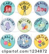 Clipart Of Round Toy Labels Royalty Free Vector Illustration by BNP Design Studio
