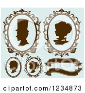 Clipart Of Brown And Blue Cameo Styled Family Profiles And Banners Royalty Free Vector Illustration by BNP Design Studio