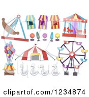 Clipart Of Carnival Rides And Items Royalty Free Vector Illustration