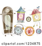 Clipart Of Different Styled Clocks Royalty Free Vector Illustration by BNP Design Studio