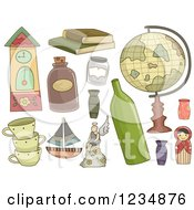 Clipart Of Collectible Items Royalty Free Vector Illustration