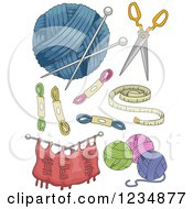 Clipart Of Knitting Yarn And Accessories Royalty Free Vector Illustration