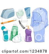 Clipart Of Mens Hygiene And Bath Toiletries Royalty Free Vector Illustration