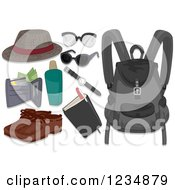 Clipart Of Mens Travel Accessories Royalty Free Vector Illustration