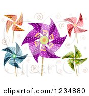 Clipart Of Decorative Pinwheels And Spirals Royalty Free Vector Illustration by BNP Design Studio