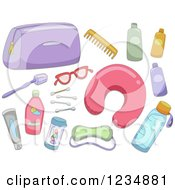 Clipart Of Travel Accessories Royalty Free Vector Illustration