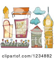 Clipart Of Urban Architectural Elements Royalty Free Vector Illustration
