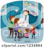 Clipart Of A Veterinarian Giving A Family Dog A Checkup Royalty Free Vector Illustration
