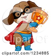 Clipart Of A Super Hero Dog Holding A Trophy Cup Royalty Free Vector Illustration by BNP Design Studio