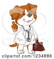 Happy Veterinarian Dog Holding A Thumb Up