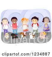 Clipart Of Happy Diverse Children Handling Dogs In Costumes At A Show Royalty Free Vector Illustration