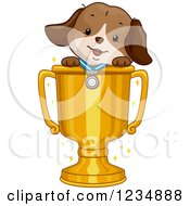 Clipart Of A Cute Puppy Dog Wearing A Medal In A Trophy Cup Royalty Free Vector Illustration