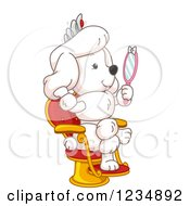 Clipart Of A White Poodle Princess Holding A Hand Mirror Royalty Free Vector Illustration