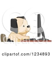 Clipart Of A Puppy Dog Using A Computer Royalty Free Vector Illustration
