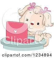 Clipart Of A Female Dog Using A Pink Laptop Computer Royalty Free Vector Illustration