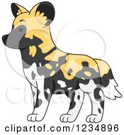 Clipart Of A Cute African Wild Dog In Profile Royalty Free Vector Illustration