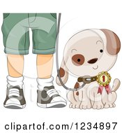 Clipart Of A Puppy Dog Wearing A First Place Ribbon By His Masters Legs Royalty Free Vector Illustration