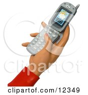 3d Womans Hand Pushing Buttons On A Cell Phone