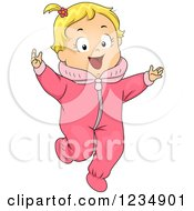 Happy Blond Caucasian Toddler Girl In A Pink Onesie