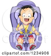 Happy Caucasian Toddler Girl Strapped In A Car Seat