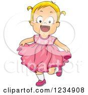 Happy Blond Caucasian Toddler Girl In A Pink Dress