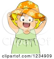 Blond Caucasian Toddler Girl Wearing A Sun Hat