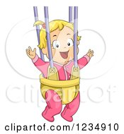 Happy Blond Caucasian Baby Girl Playing In A Bouncer