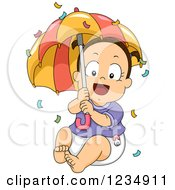 Happy Brunette Caucasian Baby Girl With Confetti And An Umbrella
