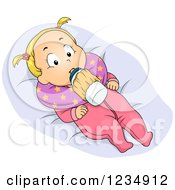Blond Caucasian Baby Girl With A Milk Bottle Holder
