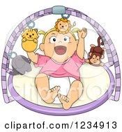 Happy Blond Caucasian Baby Girl Playing On A Musical Gym