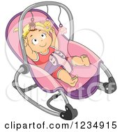 Blond Caucasian Baby Girl Reaching For The Toys On Her Rocker