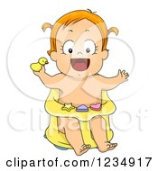 Red Haired Caucasian Baby Girl In A Bath Seat