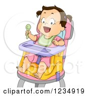 Hungry Brunette Caucasian Baby Girl In A High Chair