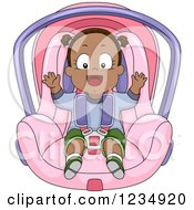 Clipart Of A Happy Black Baby Girl In A Car Seat Royalty Free Vector Illustration by BNP Design Studio