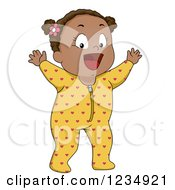 Clipart Of A Happy Black Baby Girl In Footie Pjs Royalty Free Vector Illustration